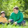 Happy father with his little son outdoors — Stock Photo #11011963