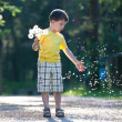 Little boy having fun with dandelion seeds — Stock Photo #11169521