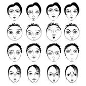 Faces with Different Emotions - illustrations — Stock Vector