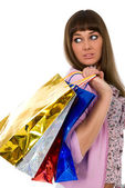 Shopping. Beautiful woman with colour packages — Stock Photo