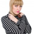 Stock Photo: Beautiful blonde wound neck with hair