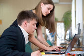 Young business work in a computer class — Stock Photo