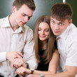 Young synchronize watches — Stock Photo