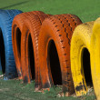 Painted tyres — Stock Photo