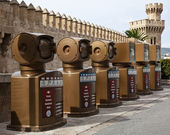 Recycling bins, Majorca — Stock Photo
