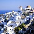 Visa Oia, traditionella blå och vita byn i santorini, Grekland — Stockfoto