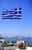 Greek blowing flag — Stock Photo