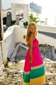 Vacationing young beautiful woman in Santorini, Greece, Near Cruise Ship — Stock Photo