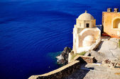 Santorini traditional church in Oia with sea view , Greece — Stock Photo