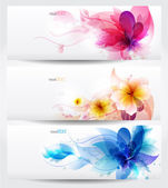 Flower vector background brochure template. — Vector de stock