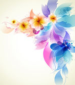 Abstract colorful background with flowers — Stock Vector