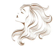 Woman face with long hair — Stock Vector