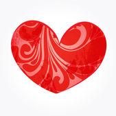 Coeur floral abstrait rouge — Vecteur