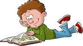 Niño con un libro — Vector de stock