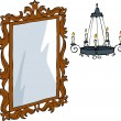 Mirror and chandelier — Stock Vector