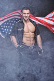 Good looking policeman posing — Stok fotoğraf