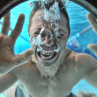 Drowning man underwater diver — Stock Photo