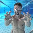 Stock Photo: Drowning man underwater diver