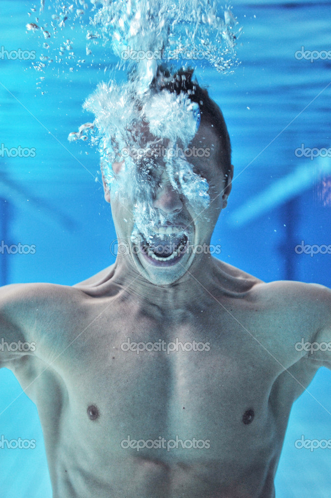 Drowning man underwater diver — Stock Photo #11088273