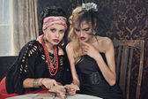 Gypsy fortune-teller cards spells — Stock Photo