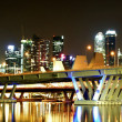 Singapore night view with bridge — Stock Photo