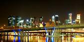 Singapore night view with bridge — Stock Photo