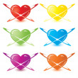 Vector modern Glossy color heart set - Stock Vector