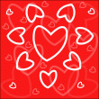 Hearts On Red — Stock Vector