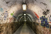Graffiti tunnel — Stock Photo