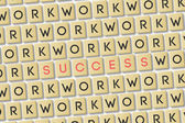 Scrabble: Work is Success — Stock Photo