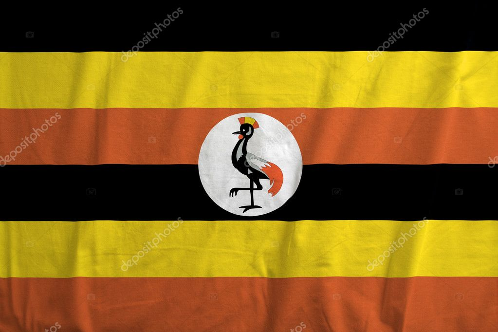 Fabric texture of the flag of Uganda — Stock Photo #11171418