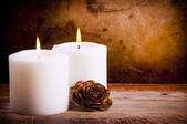 White Candles with Rose — Stock Photo