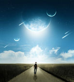 Walk with comets — Stock Photo