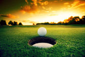 Golf Ball near hole — 图库照片