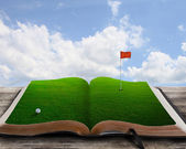 Golf course on a book — Stock Photo