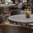 Street cafe with dark furniture — Stok fotoğraf