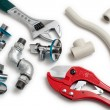 Stock Photo: Plumbing tools with pipes