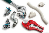 Plumbing tools with pipes — Stok fotoğraf