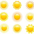 Set of sun images — Stock Vector