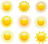 Conjunto de imágenes del sol — Vector de stock