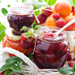 Stock Photo: Various jams in jars