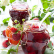 Various jams in jars — Stock Photo #10798010
