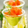 Stock Photo: Avocado cream and salmon
