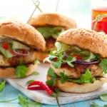 Thai chicken burger — Stock Photo