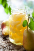 Canned pear compote — Stock Photo