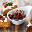 Pumpkin and tomato chutney on pumpkin bread — Stock Photo