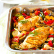 Chicken breasts  and vegetables - Stock Photo