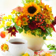 Fall still life with cup of tea — Stock Photo #11849280