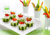 Holiday vegetable appetizers — Stock Photo