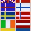 National flags of Northern Europe countries — Stock Photo